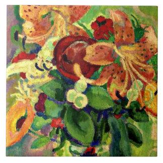 オニユリが付いている静物画; レオGestelの絵画 タイル