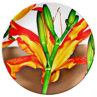 オニユリの装飾的な磁器皿 磁器プレート