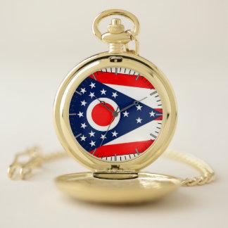 オハイオ州の国家、米国の愛国心が強い壊中時計の旗 ポケットウォッチ