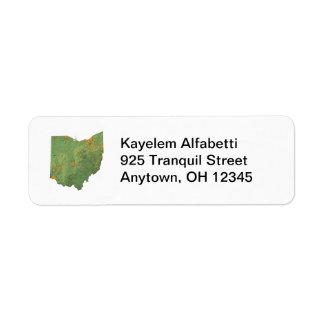 オハイオ州の地図の差出人住所ラベル ラベル
