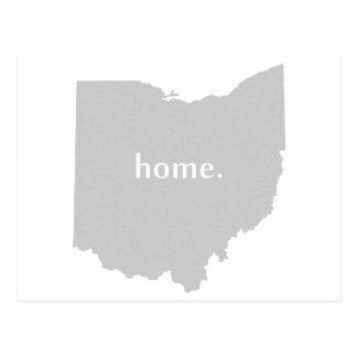 オハイオ州の家のシルエットの州の地図 ポストカード