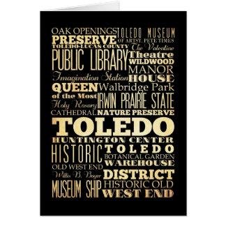 オハイオ州の州のタイポグラフィの芸術のトレド都市 カード