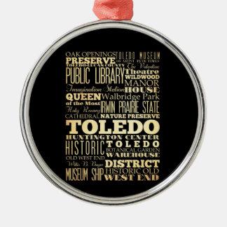 オハイオ州の州のタイポグラフィの芸術のトレド都市 メタルオーナメント