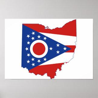 オハイオ州の州の旗および地図 ポスター