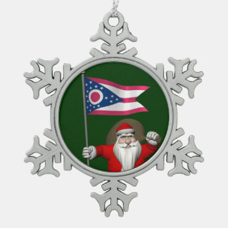 オハイオ州の旗を持つサンタクロース スノーフレークピューターオーナメント