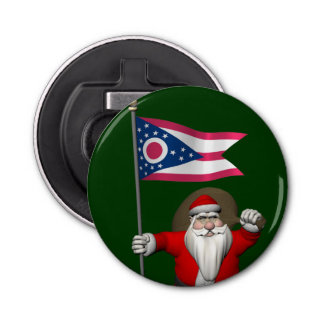 オハイオ州の旗を持つサンタクロース 栓抜き
