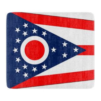 オハイオ州の旗を持つ小さいガラスまな板 カッティングボード