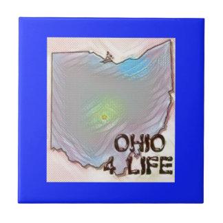 """""""オハイオ州4生命""""の州の地図のプライドのデザイン タイル"""