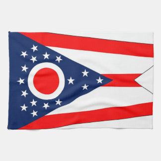 オハイオ州、米国の旗が付いている台所タオル キッチンタオル