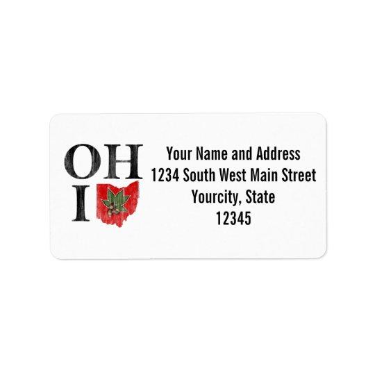 オハイオ州IO印刷のオハイオ州のヴィンテージの赤いバックアイズのナット ラベル