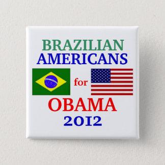 オバマのためのブラジルのアメリカ人 5.1CM 正方形バッジ