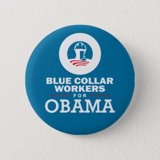 オバマのためのブルーカラー労働者 5.7CM 丸型バッジ