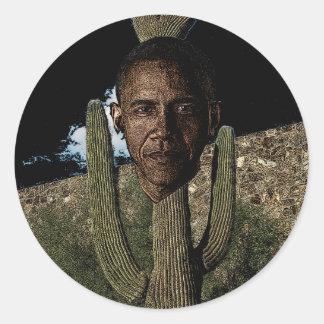 オバマのサボテン ラウンドシール