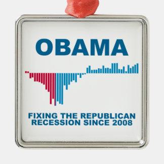 オバマの仕事成長グラフ メタルオーナメント