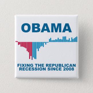 オバマの仕事成長グラフ 5.1CM 正方形バッジ
