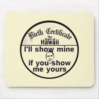 オバマの出生証明書のマウスパッド マウスパッド