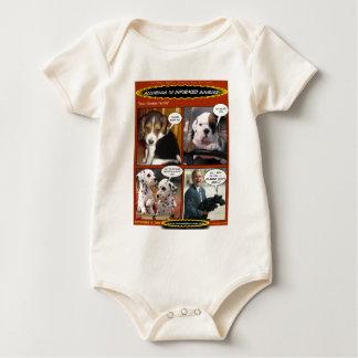 オバマの子犬のワイシャツ ベビーボディスーツ