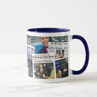 オバマの就任式新聞マグ マグカップ