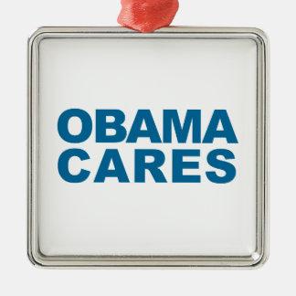 オバマの心配 シルバーカラー正方形オーナメント