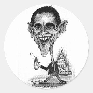 オバマの風刺漫画のステッカー ラウンドシール