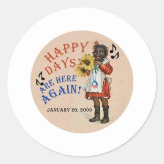 オバマの黒いアメリカの幸せな日は再度ここにあります ラウンドシール
