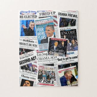 オバマは新聞コラージュのパズルを再選しました ジグソーパズル