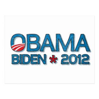 オバマバイデン氏2012年のDropshadowの青 ポストカード