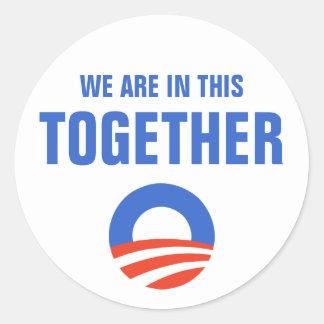 オバマ私達はこのステッカーに一緒にあります ラウンドシール