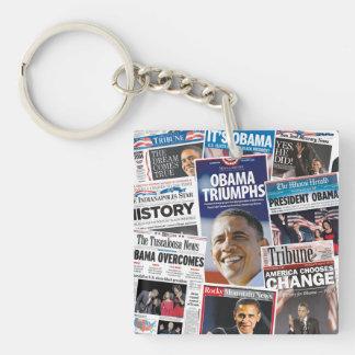 オバマ2008/2012部の勝利新聞Keychain キーホルダー