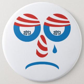 オバマ2012の悲しい顔 15.2CM 丸型バッジ