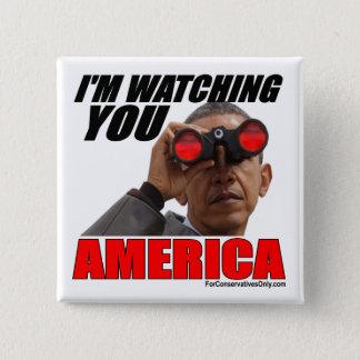 オバマ-私はアメリカ見ています 5.1CM 正方形バッジ