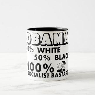 オバマ: 100%の社会主義粗悪品! ツートーンマグカップ