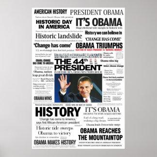 オバマ: Headline Collage Poster第44大統領 ポスター