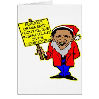 オバマScroogeサンタクロース無し憲法無し グリーティングカード