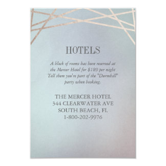 オパールのような結婚式招待状のホテル余分情報のカード カード