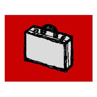 オフィスのブリーフケースか旅行スーツケース。 スケッチ。 赤い ポストカード
