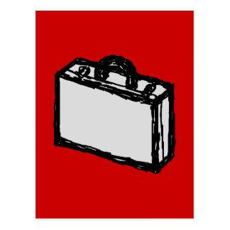 オフィスのブリーフケースか旅行スーツケース。 赤のスケッチ ポストカード