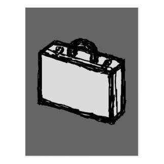 オフィスのブリーフケースか旅行者のスーツケース。 スケッチ ポストカード