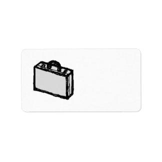 オフィスのブリーフケースか旅行者のスーツケース。 スケッチ ラベル