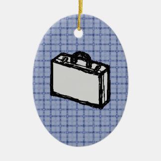 オフィスブリーフケースまたは旅行スーツケースのスケッチ。 青い セラミックオーナメント