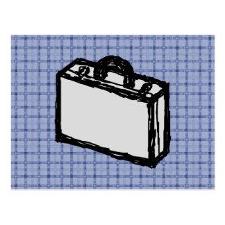 オフィスブリーフケースまたは旅行スーツケースのスケッチ。 青い ポストカード
