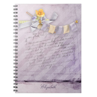 オフィス-かわいらしい春の花模様-個人化して下さい ノートブック