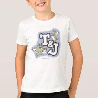オフセットの盛り土トムとジェリーのイニシャルのロゴ Tシャツ
