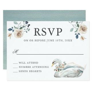 オフホワイトのバラの水彩画花の結婚RSVP カード