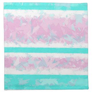 オフホワイトターコイズピンクのストライプの布のナプキン ナプキンクロス
