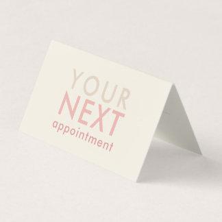オフホワイト及びピンクのミニマルな基本的なアポイントメントカード カード