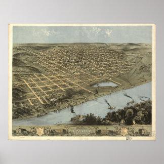 オマハネブラスカ1868の旧式なパノラマ式の地図 ポスター