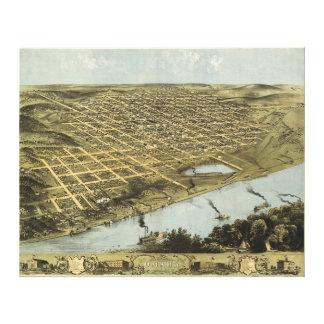 オマハネブラスカ(1868年)の鳥瞰的な眺めの地図 キャンバスプリント