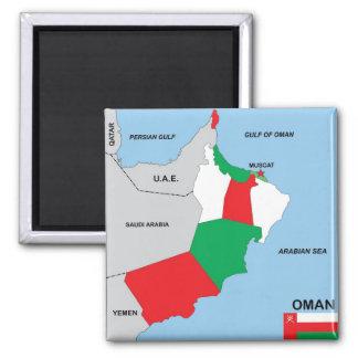 オマーンの国の政治地図の旗地区の地域 マグネット