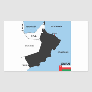 オマーンの国の政治地図の旗地区の地域 長方形シール